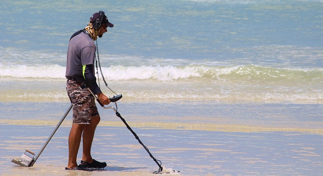 searching for aluminium with a metal detector